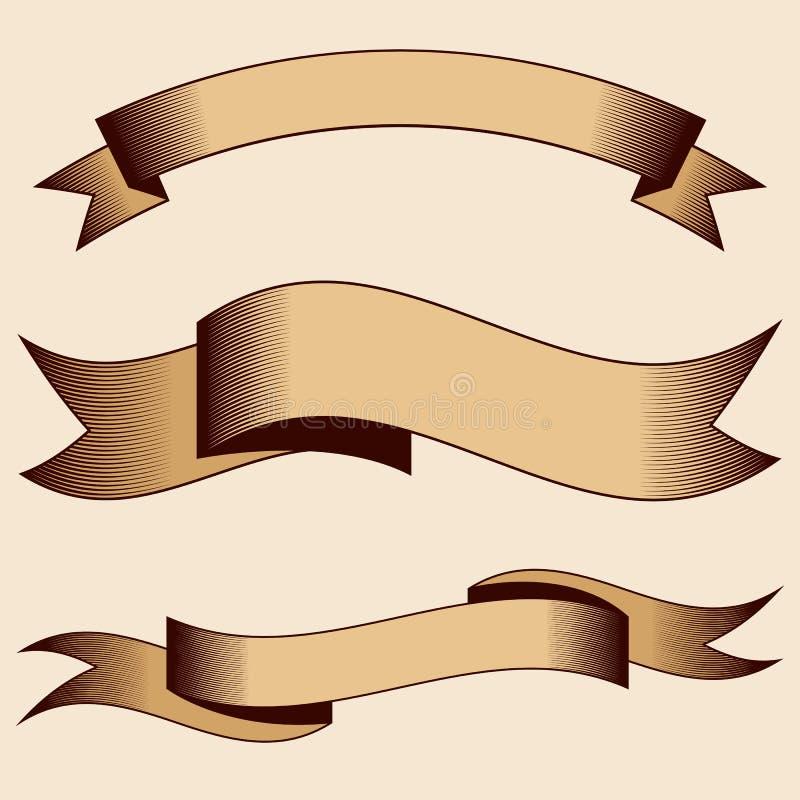 Σύνολο διανυσματικών εκλεκτής ποιότητας κορδελλών με την εκκόλαψη Ύφος χάραξης απεικόνιση αποθεμάτων