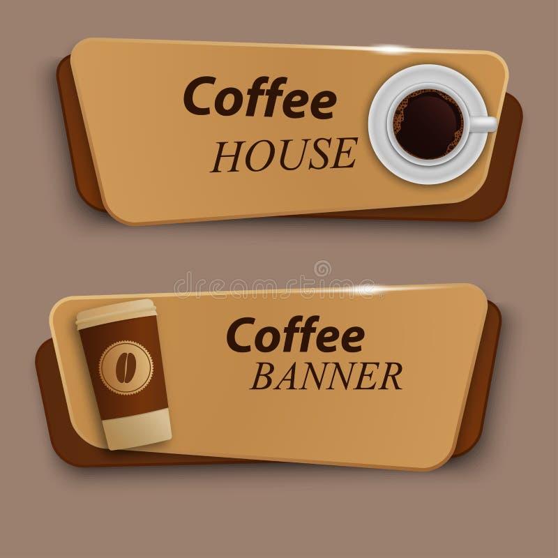 Σύνολο διανυσματικών εμβλημάτων με τον καφέ ελεύθερη απεικόνιση δικαιώματος