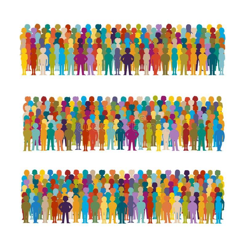 Σύνολο διανυσματικών ομάδων ανθρώπων που τακτοποιούνται σε μια σειρά στο επίπεδο ύφος ελεύθερη απεικόνιση δικαιώματος