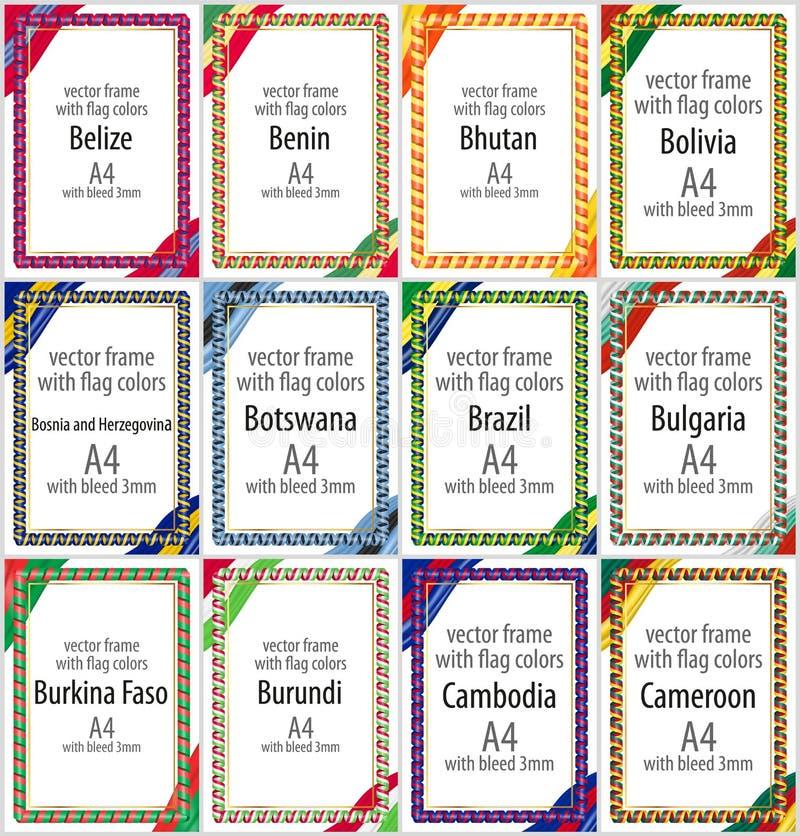 Σύνολο διανυσματικών πλαισίων και συνόρων με τις κορδέλλες του χρώματος της σημαίας διάφορων χωρών Μέρος ΙΙ απεικόνιση αποθεμάτων