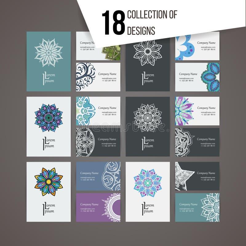 Σύνολο διανυσματικών προτύπων σχεδίου Επαγγελματική κάρτα με τη floral διακόσμηση και doodle τα στοιχεία κύκλων Ύφος Mandala διανυσματική απεικόνιση