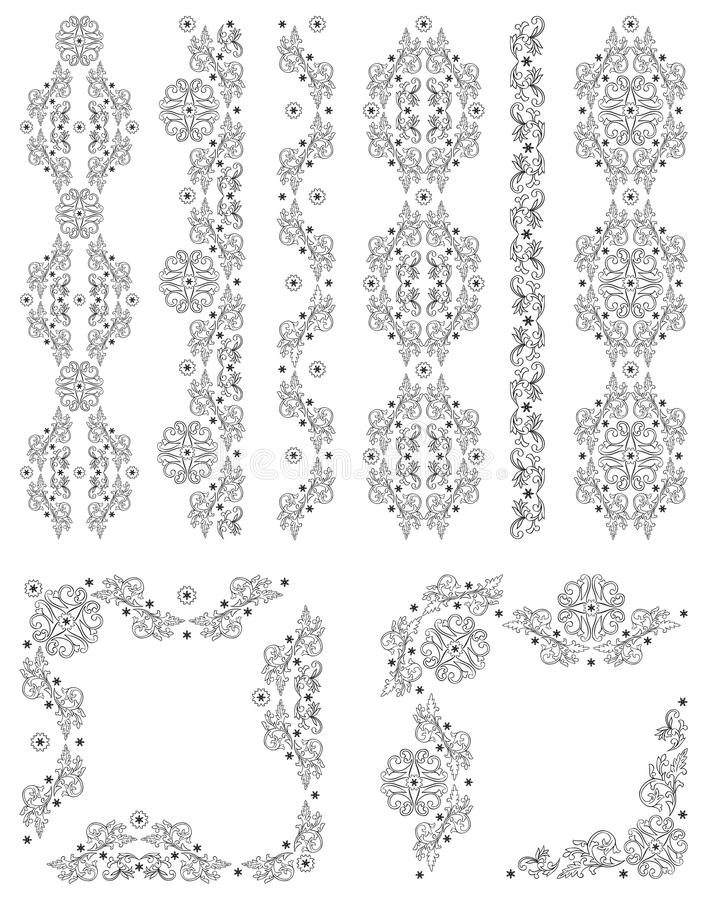 Σύνολο διανυσματικών συνόρων, διακοσμητικά floral στοιχεία   διανυσματική απεικόνιση