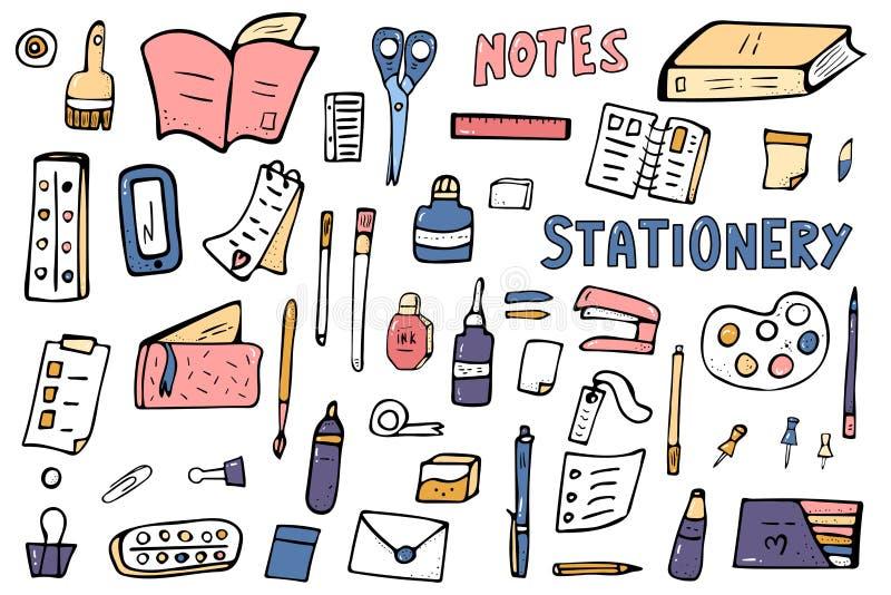Σύνολο διανυσματικών χαρτικών doodle συνδετήρες όπως τις προμήθειες σούπας γραφείων διανυσματική απεικόνιση