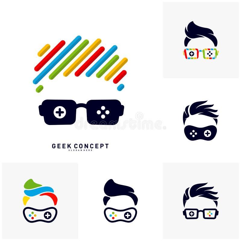 Σύνολο διανύσματος έννοιας λογότυπων φύλλων παιχνιδιών Geek Πρότυπο λογότυπων Geek παιχνιδιών - διάνυσμα απεικόνιση αποθεμάτων