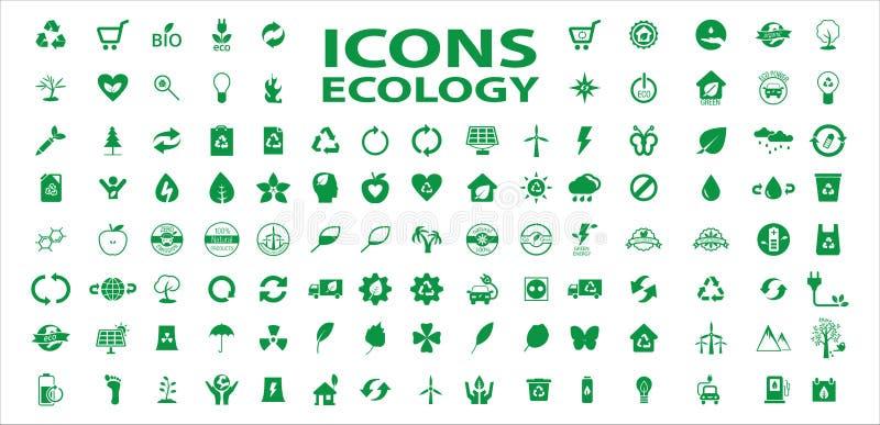 Σύνολο διανύσματος αποθεμάτων εικονιδίων οικολογίας διανυσματική απεικόνιση
