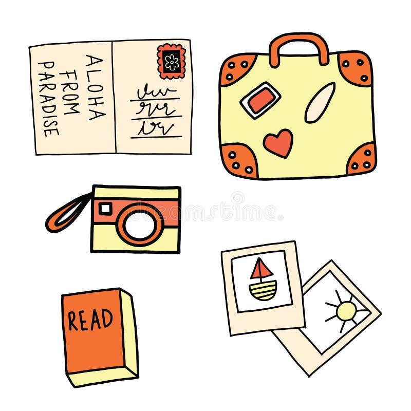 Σύνολο διανύσματος εικονιδίων θερινών διακοπών Κάρτα, βαλίτσα, κάμερα, εικόνες, βιβλίο διανυσματική απεικόνιση