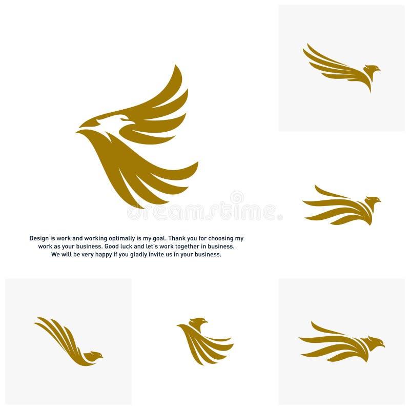 Σύνολο διανύσματος λογότυπων αετών, πρότυπο λογότυπων σχεδίου διανυσματική απεικόνιση