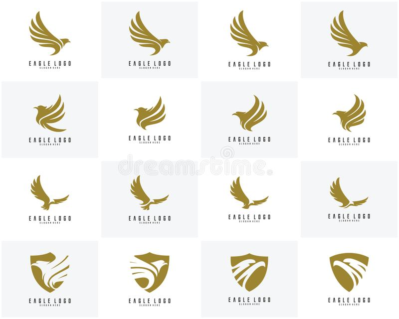 Σύνολο διανύσματος σχεδίου λογότυπων αετών, λογότυπο εικονιδίων αετών απεικόνιση αποθεμάτων