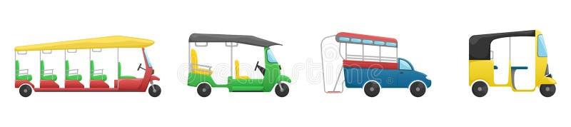 Σύνολο διανύσματος 4 tuk tuk Μια επίπεδη απεικόνιση κινούμενων σχεδίων των ασιατικών δημόσιων συγκοινωνιών απεικόνιση αποθεμάτων