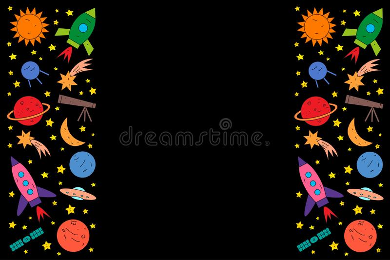 Σύνολο διαστημικών αντικειμένων στο μαύρο υπόβαθρο απεικόνιση αποθεμάτων
