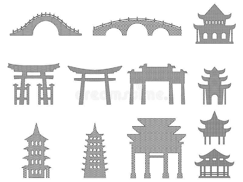 Σύνολο διαστιγμένων εικόνων αρχιτεκτονικής σχεδίων ιαπωνικών ενός ναού απεικόνιση αποθεμάτων