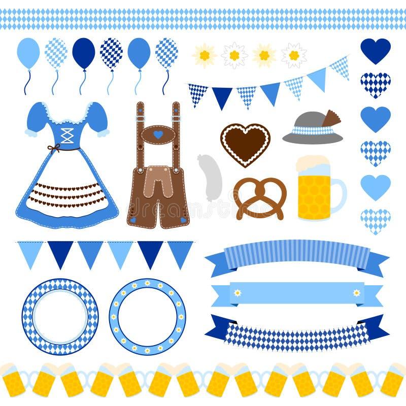 Σύνολο διαφορετικού μπλε μίγματος εικονιδίων Oktoberfest ελεύθερη απεικόνιση δικαιώματος