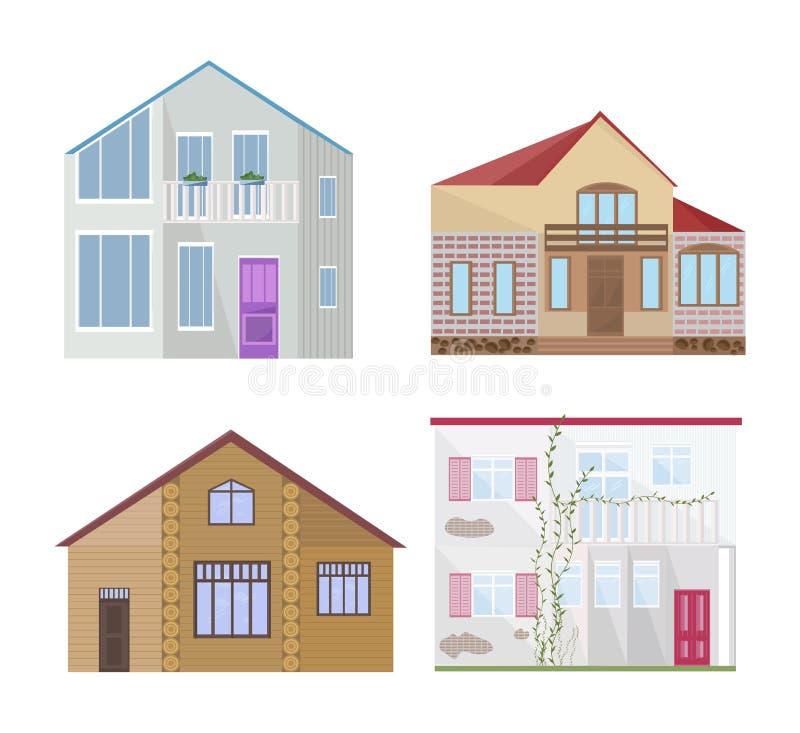 Σύνολο διαφορετικού ορισμένου διανύσματος κτηρίων προσόψεων αρχιτεκτονικής απεικόνιση αποθεμάτων
