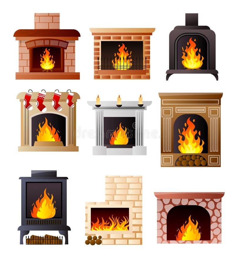 Σύνολο διαφορετικού προτύπου της εστίας στο σπίτι ή το διαμέρισμα δωματίων διανυσματική απεικόνιση