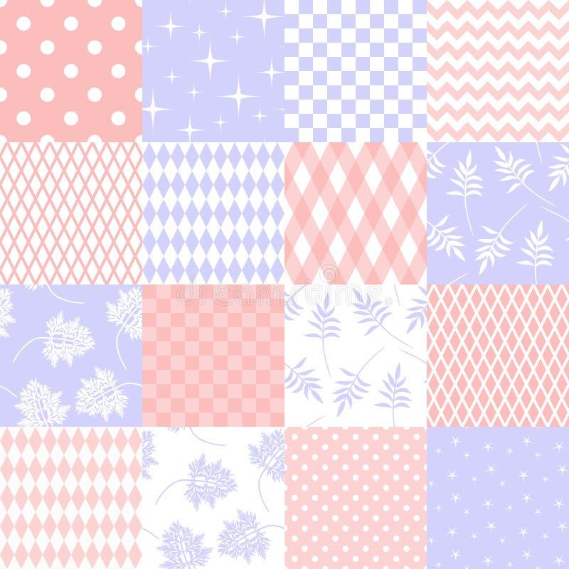 Σύνολο διαφορετικών άνευ ραφής συστάσεων στα τρυφερά χρώματα για το ύφασμα διανυσματική απεικόνιση
