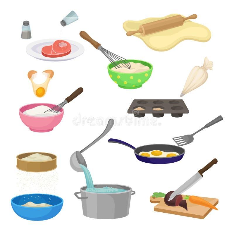 Σύνολο διαφορετικών διαδικασιών μαγειρέματος r ελεύθερη απεικόνιση δικαιώματος