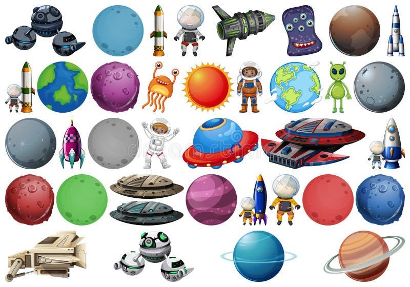 Σύνολο διαφορετικών διαστημικών αντικειμένων ελεύθερη απεικόνιση δικαιώματος