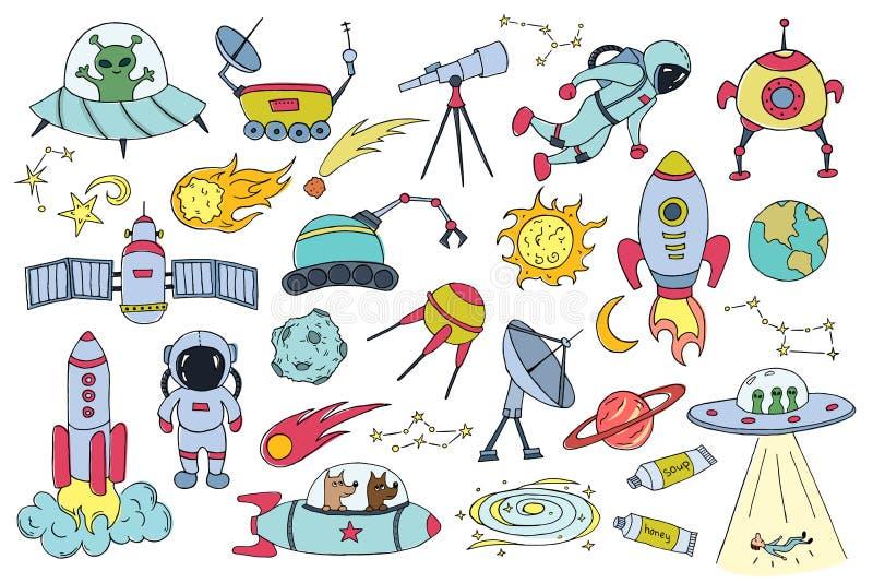 Σύνολο διαφορετικών διαστημικών αντικειμένων Συρμένο χέρι σκίτσο επίσης corel σύρετε το διάνυσμα απεικόνισης ελεύθερη απεικόνιση δικαιώματος