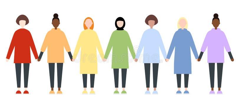 Σύνολο διαφορετικών θηλυκών χαρακτήρων φυλών στα ενδύματα ουράνιων τόξων Κοινότητα LGBTIQ Δικαιώματα γυναικών ελεύθερη απεικόνιση δικαιώματος