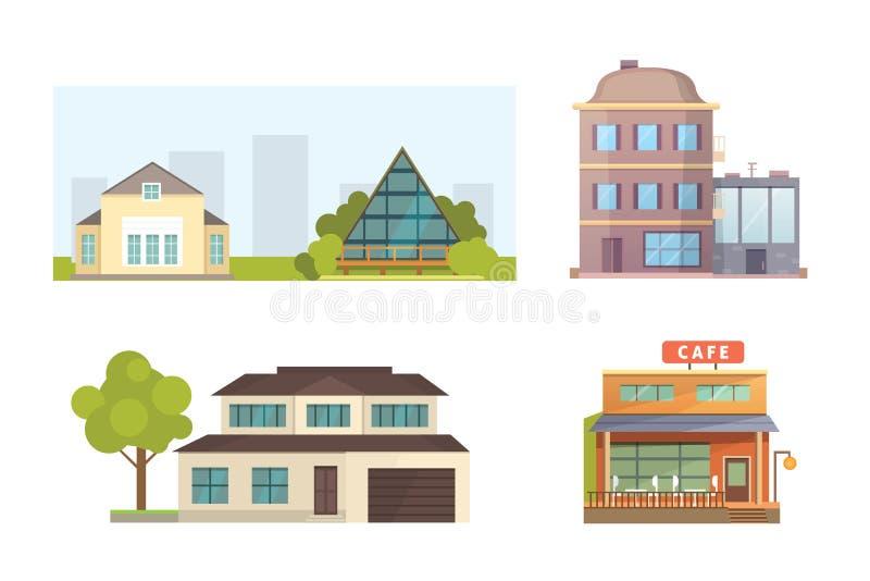 Σύνολο διαφορετικών κατοικημένων σπιτιών μορφών Αναδρομικά και σύγχρονα κτήρια αρχιτεκτονικής πόλεων Μπροστινό διάνυσμα κινούμενω ελεύθερη απεικόνιση δικαιώματος
