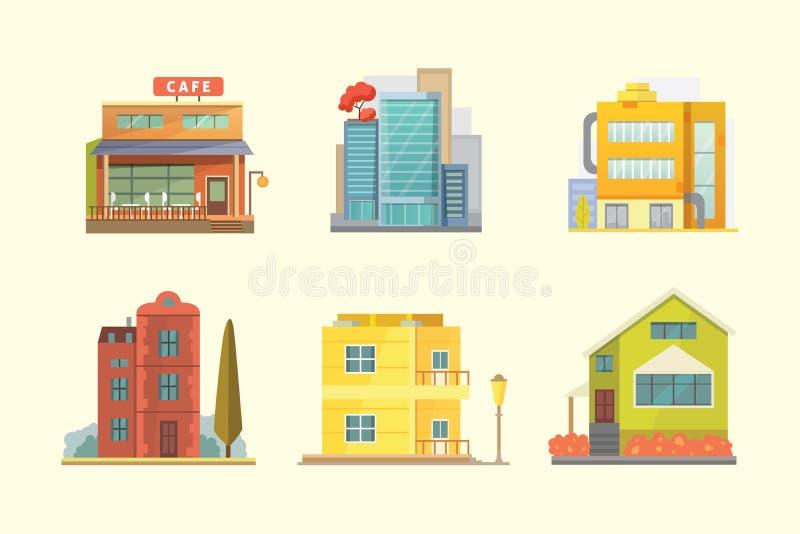 Σύνολο διαφορετικών κατοικημένων σπιτιών μορφών απεικόνιση αποθεμάτων