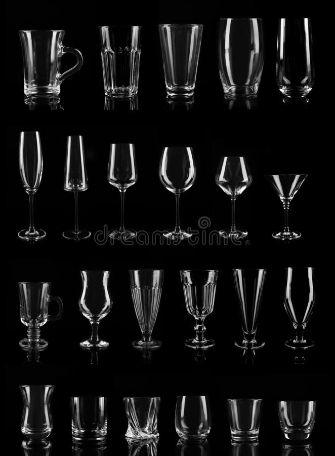 Σύνολο διαφορετικών κενών γυαλιών στοκ εικόνα