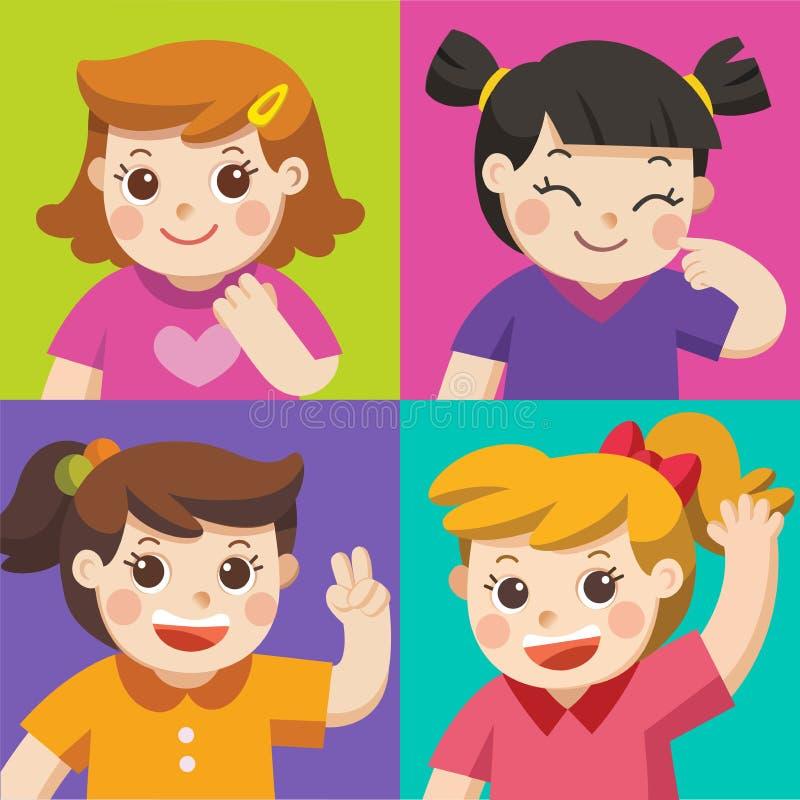 Σύνολο διαφορετικών παιδιών με τις διάφορες στάσεις ελεύθερη απεικόνιση δικαιώματος