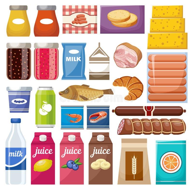 Σύνολο διαφορετικών προϊόντων διανυσματική απεικόνιση