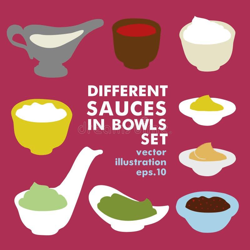 Σύνολο διαφορετικών σαλτσών Καρύκευμα, κέτσαπ, μαγιονέζα, ξινή κρέμα, σάλτσα σόγιας, γιαούρτι, μουστάρδα, ξινό wasabi κρέμας μέσα διανυσματική απεικόνιση