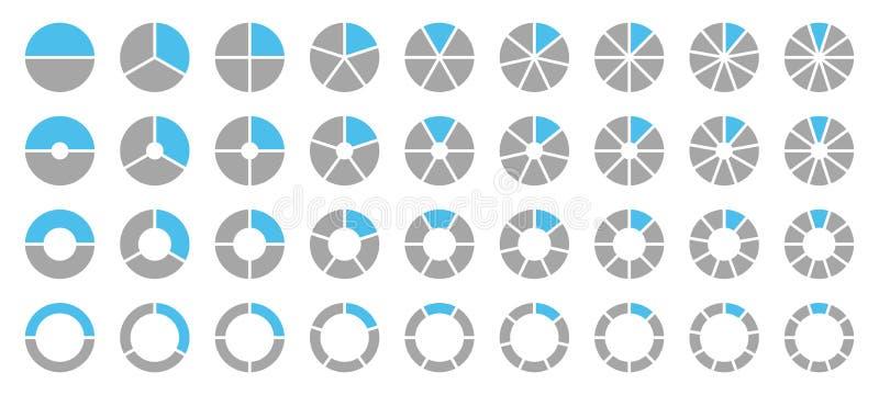 Σύνολο διαφορετικών στρογγυλών γραφικών διαγραμμάτων πιτών γκρίζων και μπλε διανυσματική απεικόνιση