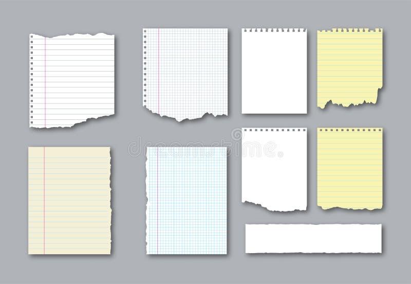 Σύνολο διαφορετικών σχισμένων σημειωματάριο σελίδων και κομμάτια του σχισμένου χαρτί για τις σημειώσεις r ελεύθερη απεικόνιση δικαιώματος