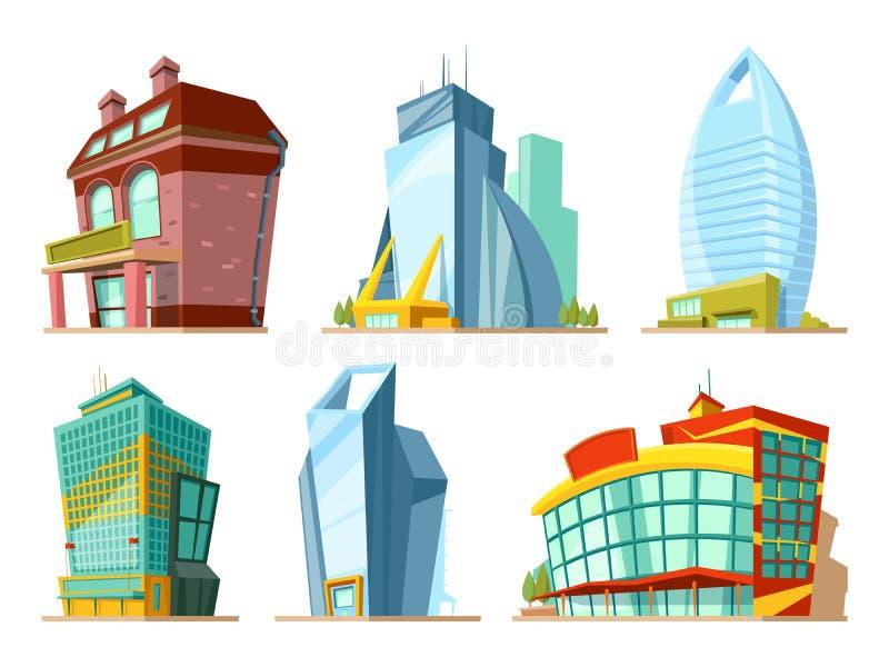 Σύνολο διαφορετικών σύγχρονων κτηρίων στο ύφος κινούμενων σχεδίων ελεύθερη απεικόνιση δικαιώματος