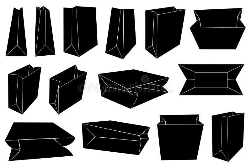 Σύνολο διαφορετικών τσαντών εγγράφου απεικόνιση αποθεμάτων