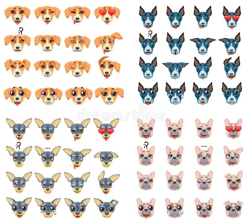 Σύνολο διαφορετικών φυλών της έκφρασης Emoji Emoticon σκυλιών ελεύθερη απεικόνιση δικαιώματος