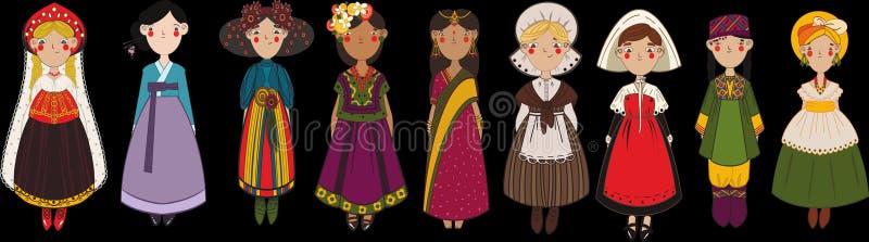 Σύνολο διαφορετικών χαρακτήρων κοριτσιών στα εθνικά ενδύματα χωρών διανυσματική απεικόνιση