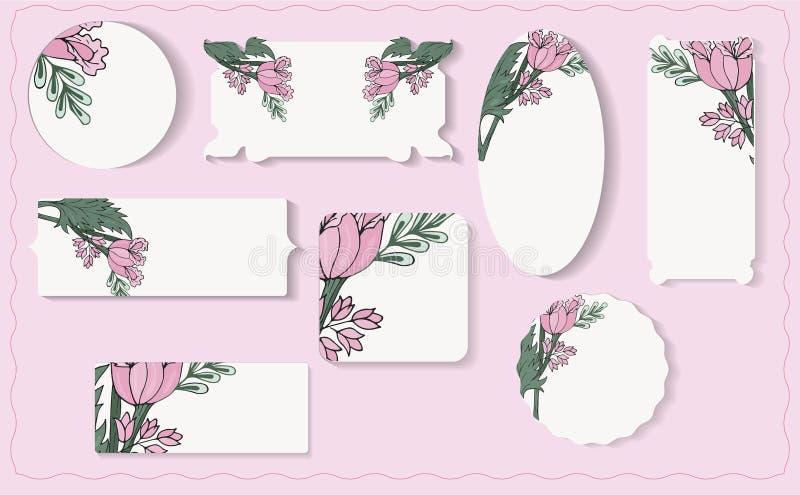 Σύνολο διαφορετικών floral ετικετών εγγράφου διανυσματική απεικόνιση