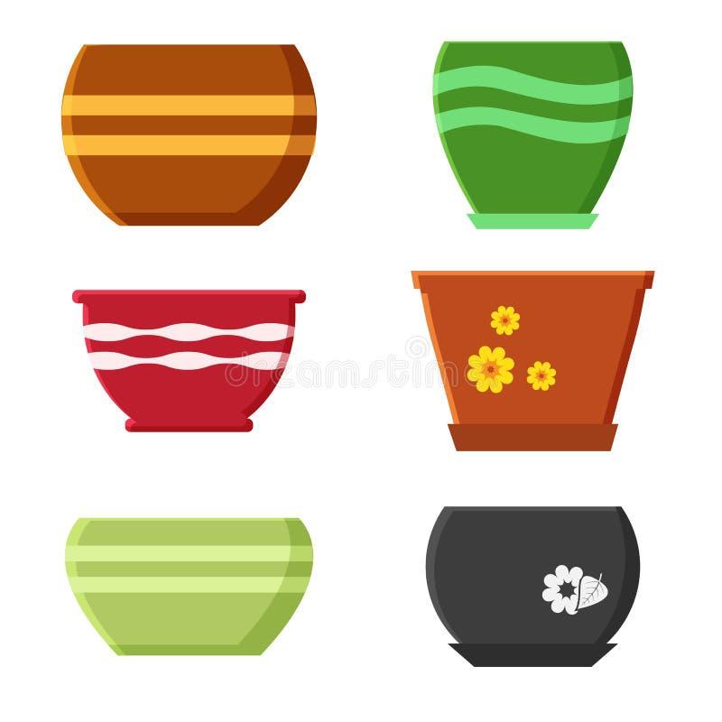 Σύνολο δοχείων λουλουδιών r διανυσματική απεικόνιση