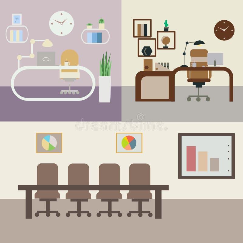 Σύνολο δωματίων γραφείων με τα έπιπλα διανυσματική απεικόνιση