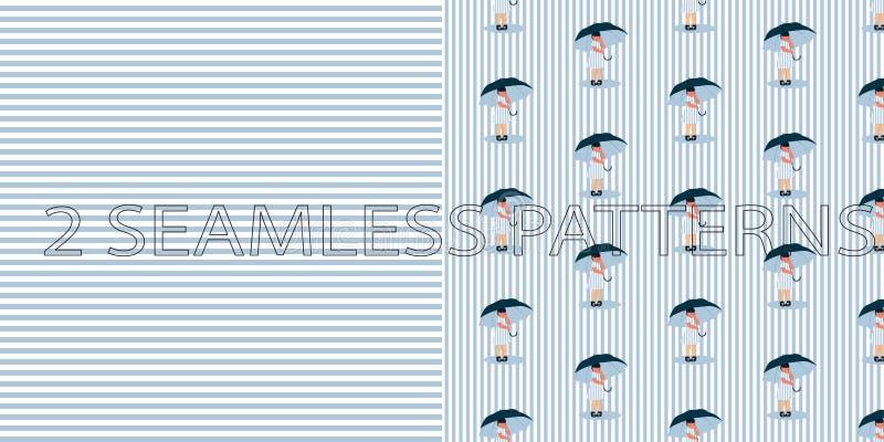 Σύνολο δύο άνευ ραφής σχεδίων στο μπλε χρώμα διανυσματική απεικόνιση