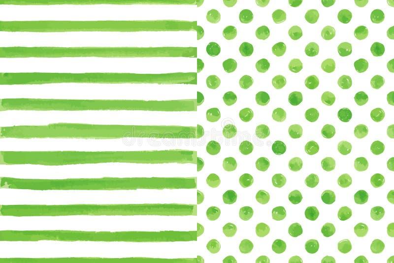 Σύνολο δύο άνευ ραφής σχεδίων watercolor, πράσινο χρώμα ελεύθερη απεικόνιση δικαιώματος