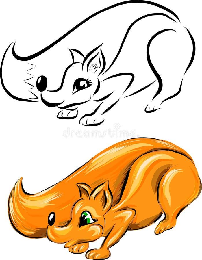 Σύνολο δύο διανυσματικών αλεπούδων διανυσματική απεικόνιση