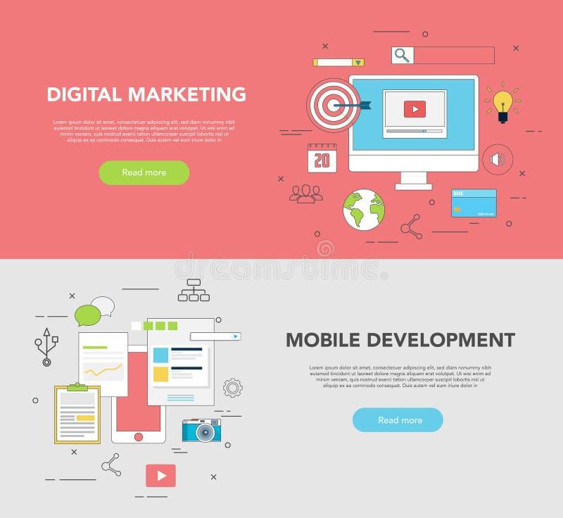 Σύνολο δύο εμβλημάτων Ιστού για το γραφικό ψηφιακό μάρκετινγκ ανάπτυξης σχεδίου και Ιστού απεικόνιση αποθεμάτων