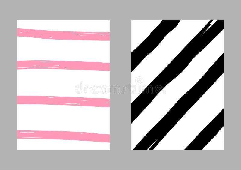 Σύνολο δύο κάθετων ριγωτών προτύπων που σύρονται με το χέρι Σκίτσο, grunge, χρώμα r Άσπρος, ρόδινος, μαύρος διανυσματική απεικόνιση