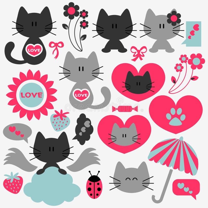 Σύνολο δύο χαριτωμένο γατών ρομαντικών στοιχείων ελεύθερη απεικόνιση δικαιώματος
