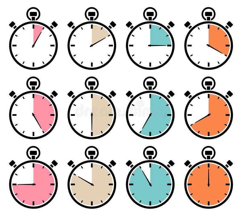 Σύνολο δώδεκα γραφικών αναδρομικών χρωμάτων εικονιδίων χρονομέτρων με διακόπτη ελεύθερη απεικόνιση δικαιώματος