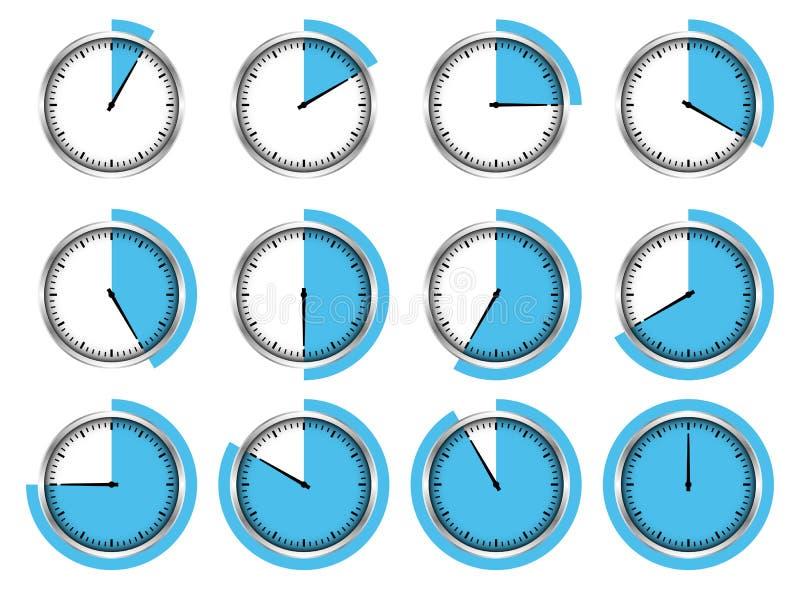 Σύνολο δώδεκα γραφικών ασημένιων χρονομέτρων με διακόπτη μπλε διαφορετικές φορές έξω ελεύθερη απεικόνιση δικαιώματος