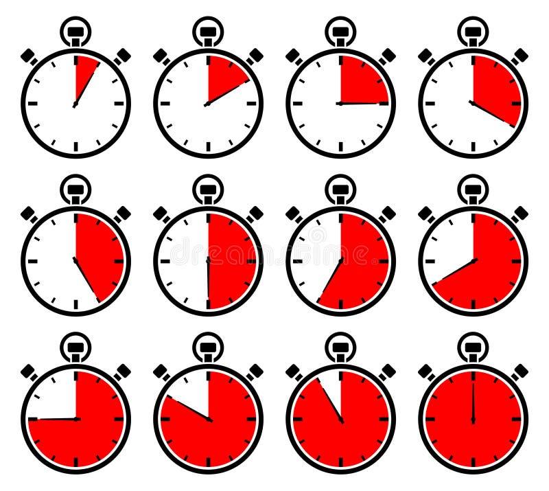 Σύνολο δώδεκα γραφικών χρονομέτρων με διακόπτη κόκκινες διαφορετικές φορές ελεύθερη απεικόνιση δικαιώματος