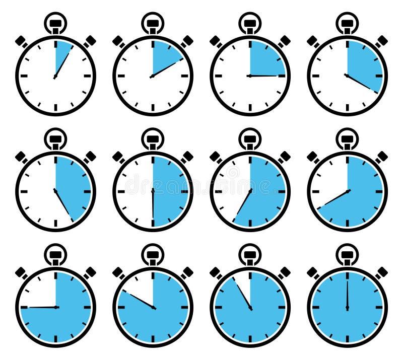 Σύνολο δώδεκα γραφικών χρονομέτρων με διακόπτη μπλε διαφορετικές φορές ελεύθερη απεικόνιση δικαιώματος