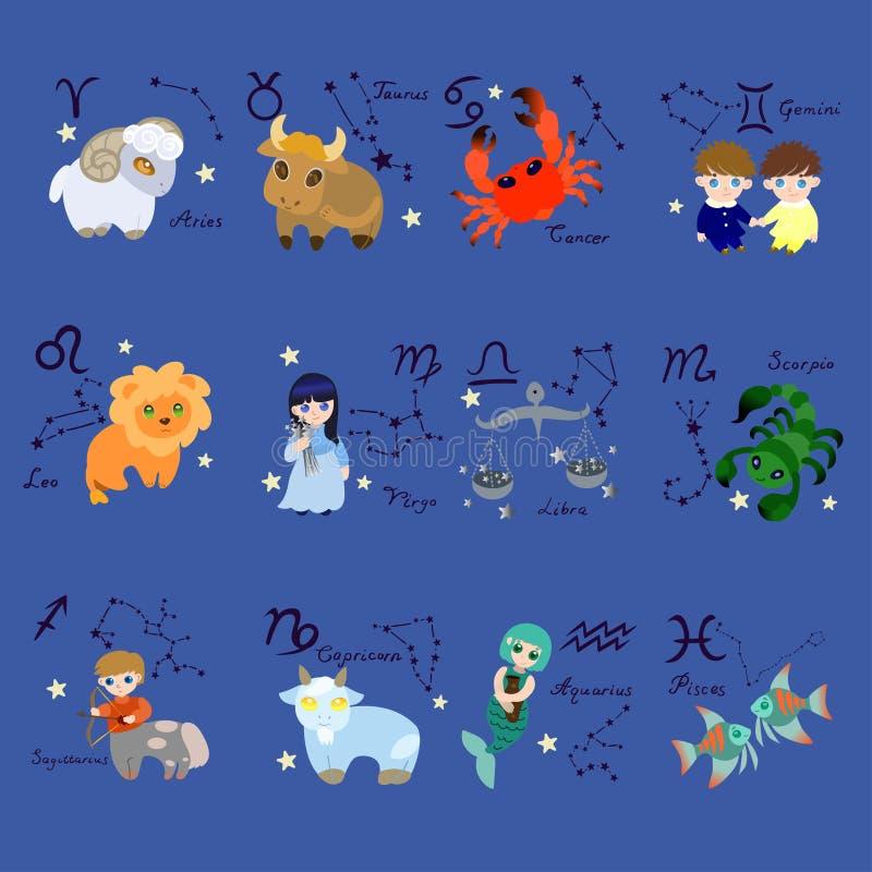 Σύνολο δώδεκα zodiac σημαδιών στο ύφος κινούμενων σχεδίων r διανυσματική απεικόνιση