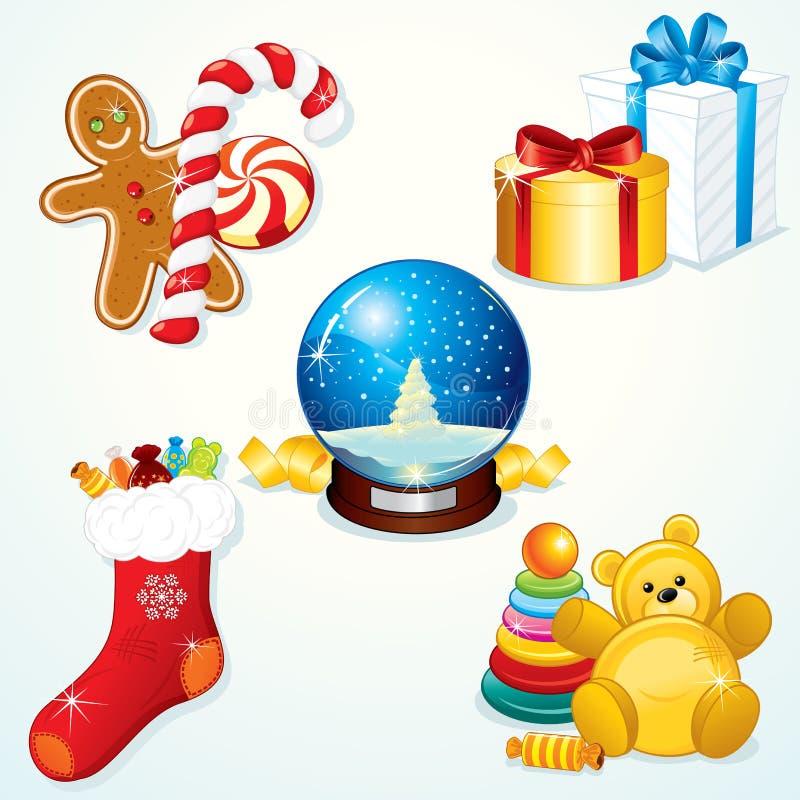 σύνολο δώρων Χριστουγένν&ome στοκ φωτογραφίες